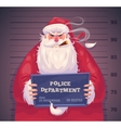 Bad Santa in police Christmas greeting card vector image