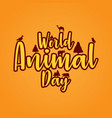 banner world animal day with wild animals vector image vector image