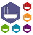 bathroom icons set hexagon vector image