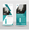 blue triangle roll up business brochure vector image vector image