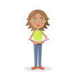 cartoon girl stands and reads book vector image vector image