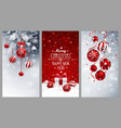 christmas banners set with fir branches red balls vector image vector image