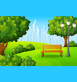 city park bench with green tree and town buildings vector image vector image
