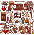 colored wild west set in hand drawn style vector image