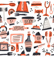 cooking flat hand drawn seamless pattern vector image