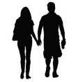 couple in love walking silhouette vector image vector image