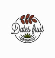 dates fruit logo round linear dates branch vector image vector image