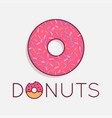 donuts logo on white cake dessert background vector image