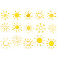 drawn sun icons vector image vector image
