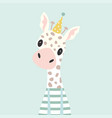 festive card with giraffe vector image vector image