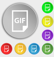 File GIF icon sign Symbol on eight flat buttons vector image vector image