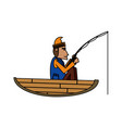 fisherman on boat icon image vector image vector image