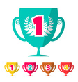 Flat Design Winning Cups Set vector image vector image
