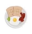 food plate with egg bread bacon cilantro leaf vector image vector image