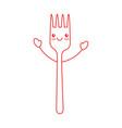 fork cutlery kawaii character vector image vector image