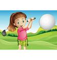 Girl playing golf vector image vector image