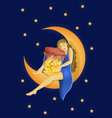 girl with a jar on moon vector image vector image