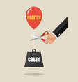 hand cutting profits balloon and costs weight vector image