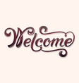 hand drawn lettering welcome with shadow and vector image vector image