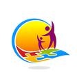 happy people horizon puzzle logo vector image