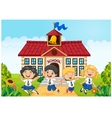 Happy school kids in front of school bilding vector image vector image