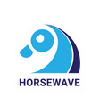 horse and wave logo icon vector image vector image