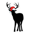 image of an deer and santa hats on blue vector image vector image