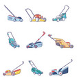 lawnmower grass garden icons set cartoon style vector image vector image