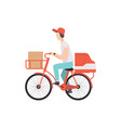 male courier riding bicycle with cardboard boxes vector image vector image