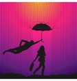 Man is protecting a women with umbrella vector image