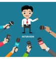 Media conducting a press interview vector image