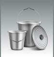 metal buckets vector image