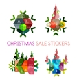 Paper New Year and Christmas labels stickers vector image