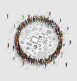people in a circle with a lot of icons vector image vector image