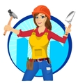 plasterer woman with trowel and paint roller vector image