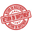 return on investment red grunge stamp vector image vector image