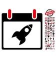 Rocket Calendar Day Flat Icon With Bonus vector image vector image