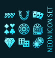 set casino glowing neon style icons vector image