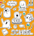 Set sticker doodle characters and school supplies vector image vector image