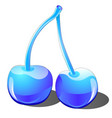 two cherries made of ice and glass isolated on vector image vector image
