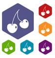 two cherry berries icons set hexagon vector image vector image