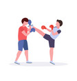 two men boxers exercising thai boxing in red vector image