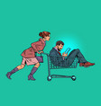 woman with a man in a shopping cart in a vector image vector image
