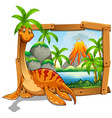 Wooden frame with dinosaur at the lake vector image vector image