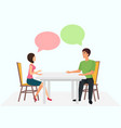 young man and woman are sitting at table and vector image
