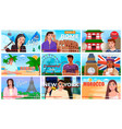 young people man and woman travel bloggers set vector image