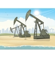 Oil derrick industrial machine vector image