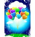 cartoon heart balloons vector image
