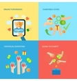 Giving hands 4 flat icons square banner vector image
