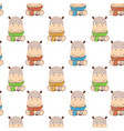 hippo patterncute cartoon hippo in kawaii style vector image